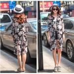 [พร้อมส่ง] เสื้อผ้าแฟชั่นเกาหลี Shirt ตัวเก่ง ทรงยาวลายดอกไม้ทั่วตัว เนื้อผ้าชีฟองทรีทรู