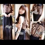 Lady Katy Sexy Leopard Shirt Maxi Dress แม็กซี่เดรส เดรสยาวปกเชิ้ตลายเสือ