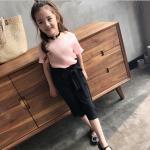 เสื้อ+กางเกง สีดำ+ชมพู แพ็ค 5 ชุด ไซส์ 120-130-140-150-160 (เลือกไซส์ได้)