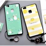 เคส Huawei P9 Lite พลาสติก TPU ยืดหยุ่นได้สกรีนลายน่ารักมากๆ + แหวนที่ตั้งและสายคล้อง ราคาถูก