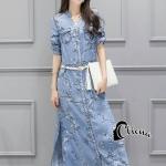 [พร้อมส่ง] เสื้อผ้าแฟชั่นเกาหลี เดรสยาวผ้า Denim ลายดอกไม้เล็กๆสีขาว และลายนกบนกิ่งไม้สีน้ำตาลอ่อนๆ