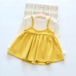 ชุดกระโปรง สีเหลือง แพ็ค 5 ชุด ไซส์ 90-100-110-120-130
