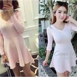 Sweety Pink Knit Dress เดรสไหมพรมกระโปรงสวิงสีชมพู