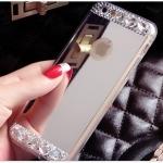 เคสไอโฟน 6 เคสซิลิโคนนิ่ม ขอบใส มีแผ่นเงาเหลือบเงิน-ทอง ใช้ส่องเป็นกระจกเงาได้ ประดับเพชรเล็ก-ใหญ่ ฟรุ้งฟริ้ง สวย ดีงามมาก