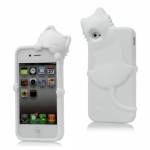 I Phone 4,4S Cute Cat Silicone : White