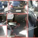 พรมปูพื้นรถยนต์ Toyota Yaris 2006 ไวนิลสีดำขอบแดง