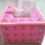 กล่องทิชชูแผ่นเฟรมชมพูมีมุก pop-up