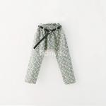 กางเกงขายาวลายดอกไม้สีคราม+เข็มขัด [size: 2y-3y-5y-7y-9y]