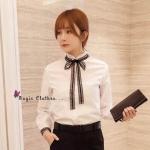 [พร้อมส่ง] เสื้อผ้าแฟชั่นเกาหลีเสื้อเชิ้ตคอจีนแขนยาว สไตล์คุณหนู ไฮโซ ลุคดูผู้ดีสุดๆ ดีไซน์ได้เรียบหรู มากๆ ปกจับจีบระบาย