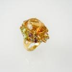 แหวนเงินพลอยซิทรีนล้อมแฟนซี (Citrine Silver Ring With Fancy Gems)