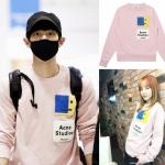 เสื้อแฟชั้นเกาหลีแขนยาว EXO Chanyeol 2NE1 DARA สีชมพู