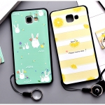 เคส Samsung A9 Pro (2016) พลาสติก TPU ยืดหยุ่นได้สกรีนลายน่ารักมากๆ + แหวนที่ตั้งและสายคล้อง ราคาถูก
