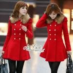 [พร้อมส่ง] เสื้อผ้าแฟชั่นเกาหลี เสื้อโค้ทสีแดงแต่งขนเฟอ ตัวนี้งานสวย ดูแพง ลุคหรูหรา มั่นใจ ดูใส่แล้วหุ่นดีด้วยค่ะเป็นโค้ททรงเข้ารูปเน้นช่วงเอว