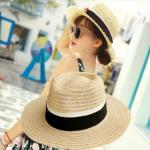 [พร้อมส่ง] H7120 หมวกปานามา สานแบบโปร่ง แต่งขอบรุ่ย สวยเก๋