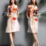 [พร้อมส่ง] เสื้อผ้าแฟชั่นเกาหลี Long Dress ทรงตรง แขนสั้น แต่งลายดอกสีส้ม สีสันสดใส เนื้อผ้าใส่สบายไม่ร้อน มาพร้อมซับในในตัว
