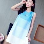 [พร้อมส่ง] เสื้อผ้าแฟชั่นเกาหลีราคาถูก เดรสแฟชั่นเกาหลี ผ้าโทเรแต่งผ้ามุ้ง แบบสวม ชุดโทนสีฟ้า