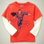 GP104 baby Gap เสื้อผ้าเด็ก เสื้อยืดแขนยาว เนื้อนุ่ม สีส้มต่อแขนสีส้ม สกรีน Superman Size 18M