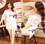Lady Claire Classy Lace Set in White Size S: เซทเสื้อและกางเกงตัดแต่งผ้าลูกไม้สีขาว ขนาด S