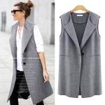 [Pre*order] TN4760 เสื้อโค้ทกันหนาวแขนกุด ตัวบาง แบบเสื้อกั๊กตัวยาว Europe Style (มี Plus Size ค่ะ)
