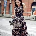 [พร้อมส่ง] เสื้อผ้าแฟชั่นเกาหลี เดรสแขนกุด เนื้อผ้าorganzaพิมพ์ลายดอกไม้สีดำสวยเก๋ทั้งตัว งานมีซับในให้อย่างดีนะคะ ดีเทลแขนกุด มีซิปด้านหลังค่ะ