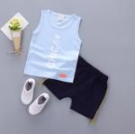 เสื้อ+กางเกง สีฟ้า แพ็ค 4ชุด ไซส์ S-M-L-XL (เหมาะสำหรับ 6ด.-4ปี)