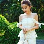 [พร้อมส่ง] เสื้อผ้าแฟชั่นเกาหลี Dress ชุดเดรสลูกไม้งานตัดเนื้อผ้าผสมโทนชุดสีขาว งานตัดเนื้อผ้าคัดเกรด Premium อย่างดีเลยนะคะ