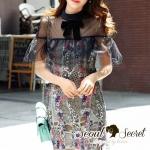 [พร้อมส่ง] เสื้อผ้าแฟชั่นเกาหลี เดรสสวยหรู สไตล์สาวหวานแบบสาวผู้ดี ด้วยเดรสเข้ารูป มีดีเทลความสวยอยู่ที่เนื้อผ้าลูกไม้นะคะ