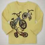 GP112 baby Gap เสื้อผ้าเด็ก เสื้อยืดแขนยาว เนื้อนุ่ม สีเหลืองอ่อน สกรีนลาย BMX Size 18M/2Y/4Y/5Y/6Y