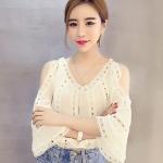 [พร้อมส่ง] เสื้อผ้าแฟชั่นเกาหลีราคาถูก เสื้อแฟชั่นเกาหลี ผ้าชีฟอง+ลูกไม้ แบบสวม สีขาว