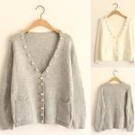 [Pre*order] MM4601 เสื้อคลุมไหมพรมสเวเตอร์กันหนาว ตกแต่งด้วยมุกและคริสตัล สวยหรู Hiso Sweater
