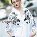 [พร้อมส่ง] เสื้อผ้าแฟชั่นเกาหลีเสื้อผ้าคอตตอนสีขาวปักลายสไตล์ตะวันออก ตัวนี้เป็นแนวแบบญี่ปุ่นผสมจีน