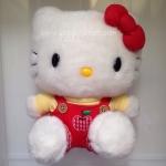 """ตุ๊กตาเฮลโหลคิตตี้ชุดเอี๊ยมกางเกงแดง ปักแอปเปิ้ลแดง Hello Kitty plush doll red apple 9"""" ขนแน่นฟรุ้งฟริ้งมากๆจ้า"""