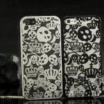 case iphone 5 เคสไอโฟน5 เคสลายหัวกะโหลกกับมงกุฏ แนวโลหะ เงาๆ เท่ๆ สวยๆ Tide brand skull protective shell metal plating