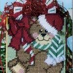 ชุดปักแผ่นเฟรมกระเป๋าลายหมีคริสต์มาส