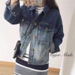 """[พร้อมส่ง] เสื้อผ้าแฟชั่นเกาหลี รุ่นใหม่!!! Chic Hit Denim Jacket"""" แจคเกตสุดฮิต ไล่สีทูโทนทให้ลุคเซอร์ๆเท่ห์ๆ"""