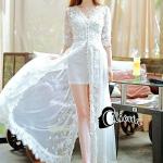 [พร้อมส่ง] เสื้อผ้าแฟชั่นเกาหลี เดรสยาวสีขาวสะอาดตา ดีไซส์คล้ายเสื้อคลุม ทำจากผ้ามุ้งที่เย็บตกแต่งด้วยดอกไม้ 3 มิติ