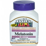 21st Century , เมลาโทนิน (Melatonin) อาหารเสริมช่วยนอนหลับ, 3 มิลลิกรัม, 200 เม็ด
