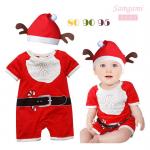 ชุดคริสมาสต์ บอดี้สูท สีแดง แพ็ค 3 ชุด ไซส์ 80-90-95 (เลือกไซส์ไม่ได้)