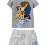 GNL123 baby Gap เสื้อผ้าเด็ก ชุดลำลอง เสื้้อแขนสั้น Beaty And The Beast +กางเกงขาสั้นสีเทา สกรีน 86 GAP เหลือ Size 80/90/95