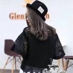 [พร้อมส่ง] เสื้อผ้าแฟชั่นเกาหลี เสื้อลูกไม้ปักทอบนผ้าซีทรู ลวดลายการปักสวยค่ะ งานปักรอบตัวชายเสื้อเซ่ะตามลายเป็นคลื่น