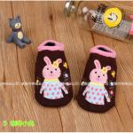 ถุงเท้า ลายกระต่าย สีกาแฟ แพ็ค 24 คู่ ไซส์ 2-4ปี