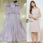 [พร้อมส่ง] เสื้อผ้าแฟชั่นเกาหลี เดรสแขนกุดคอปก ช่วงกระโปรงอัดพลีท มีซับในอย่างดี มาพร้อมกับผ้าผูกเอวสีเดียวกับชุด