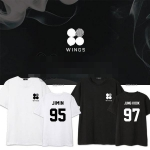 เสื้อยืดแฟชั่นเกาหลี BTS WINGS (ระบุชื่อศิลปินที่ช่องหมายเหตุ)