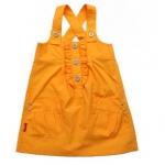 KGO038 Kidsplanet ชุดเอี๊ยมกระโปรงเด็กหญิง สีส้ม สายไขว้ด้านหลัง ด้านหน้าจับระบายตรงอก พร้อมกระเป๋า กระดุมเหล็ก เหลือ Size 24M