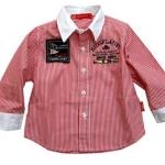 KP124 Kidsplanet เสื้อผ้าเด็กชาย เชิ้ตแขนยาว ลายริ้วสีแดง ตัดปก+ปลายแขนสีขาว ปักแปะตราสัญลักษณ์ KIDSPLANET 2004 เหลือ Size 18M
