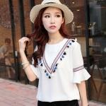 [พร้อมส่ง] เสื้อผ้าแฟชั่นเกาหลีราคาถูก เสื้อแฟชั่นเกาหลี ผ้าฝ้าย ติดกระดุมด้านหลัง 1 เม็ด ไม่มีซับใน แบบสวม สีขาว