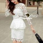 [พร้อมส่ง] เสื้อผ้าแฟชั่นเกาหลี งานสวยสไตล์สาวหวานแบบผู้ดี เซ็ทเสื้อมาพร้อมกับกระโปรงทรงสอบ สีขาว