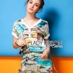 [พร้อมส่ง] เสื้อผ้าแฟชั่นเกาหลี Lady Ribbon's Made มินิเดรสพิมพ์ลายสไตล์ซัมเมอร์ พิมพ์ลายทะเลสีฟ้าและตึกรามบ้านช่อง ที่เอวมีเชือกผูกเพื่อให้เข้ารูป