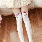 [ไซส์เด็ก] K6833 ถุงน่องเด็ก แบบสีขาวครึ่งขา ลายคิตตี้ Kitty