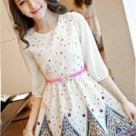 [พร้อมส่ง] เสื้อผ้าแฟชั่นเกาหลีราคาถูกเดรสแฟชั่นเกาหลี ผ้าชีฟอง มีซับใน แบบสวม ชุดสีขาว *แถมเข็มขัดหัวดอกไม้ *สินค้าจริงสีขาว